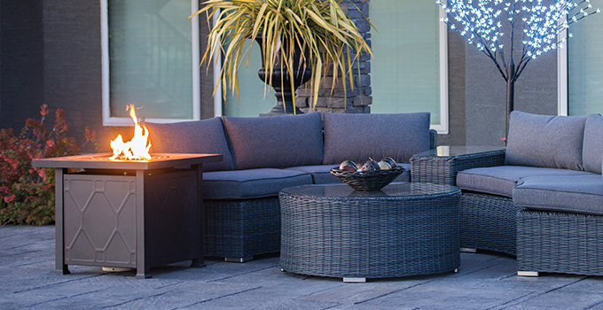 Outdoor Fire Pits Tables Safety, Patio Furniture With Fire Pit Table Canada